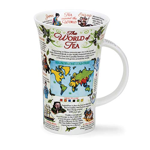 Taza de cerámica Dunoon de The World of Tee, hecha a mano en Inglaterra, relájate y medita con este diseño informativo sobre tipos de té e historia, disfruta de tu taza