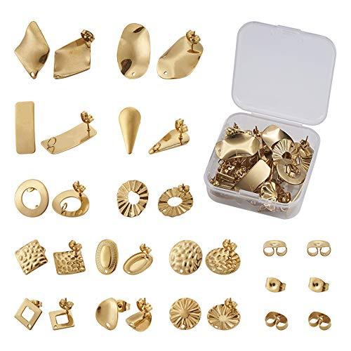Cheriswelry 24 piezas de acero inoxidable dorado pendientes de tuerca con pendientes de mariposa...