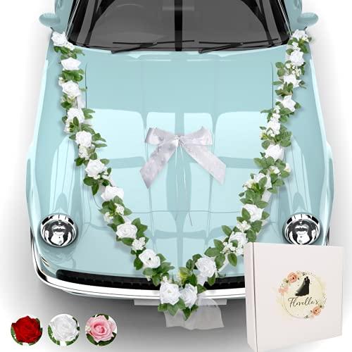 Florella's ® Autoschmuck Hochzeit für Romantiker I prachtvolle Blumengirlande mit 24 weißen Rosen I 4 romantischen Türsträussen und Einer großen Seidenschleife I Hochzeitsdeko Auto