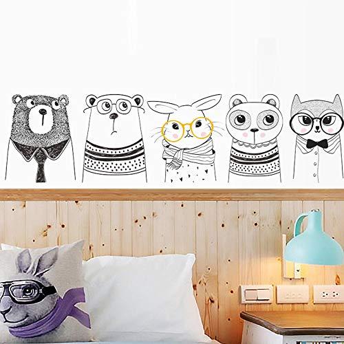 Terilizi creatieve cartoon dier beer konijn muur Stickers zwart wit eenvoudig schilderen kinderen slaapkamer keuken kast kamer deur decoratie