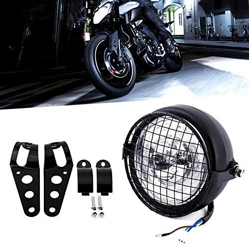 Terisass Faro de motocicleta 12V Moto Frontal LED Faro de 6.5 pulgadas Motocicleta Lámpara de luz Lámpara Parrilla Montaje lateral Cubierta con soporte para Cafe Racer Universal
