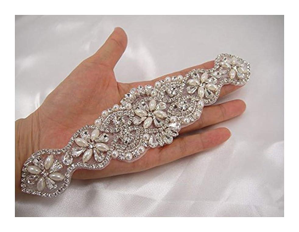 QueenDream fashion Rhinestone applique chain pearl bridal applique trim neckline