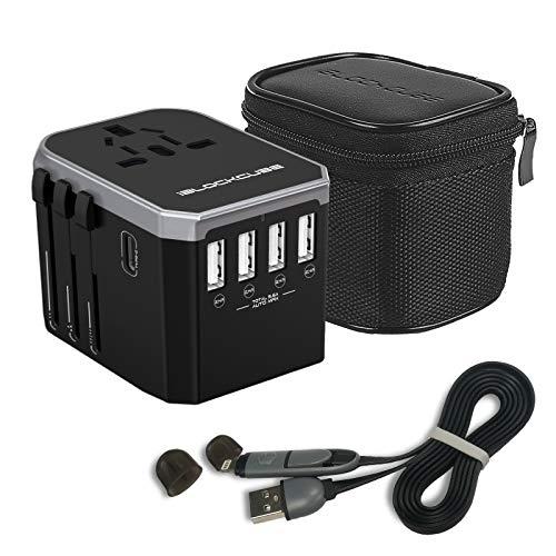iBlockCube Reiseadapter Reisestecker Weltweit 150 Ländern Universal Travel Adapter mit 4 USB Ports+Typ C und AC Steckdosen Internationale Reiseadapter für Europa Silber-Schwarz (4 USB + Typ C)