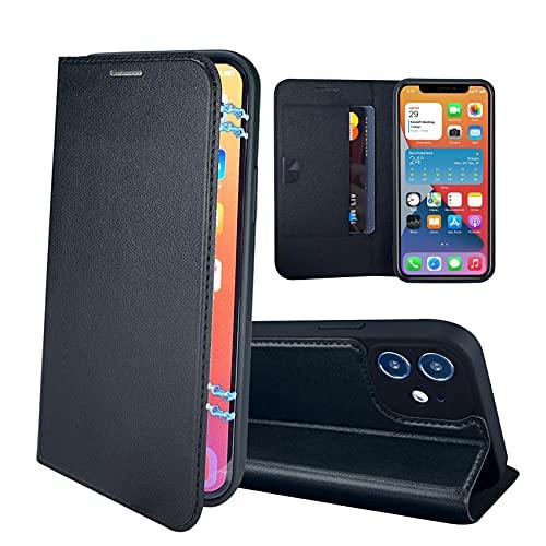 RedyRun Funda Poliuretano Hybrid Compatible con iPhone 12 Mini 5.4 Pulgadas (Fundas Plegable Cartera Cuero PU) (Funda de Bumper Silicona TPU) (Flip Folio Case) - Negro