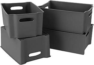 Zerdyne 4-Pack Plastic Stackable Storage Bin, Gray Stackable Basket