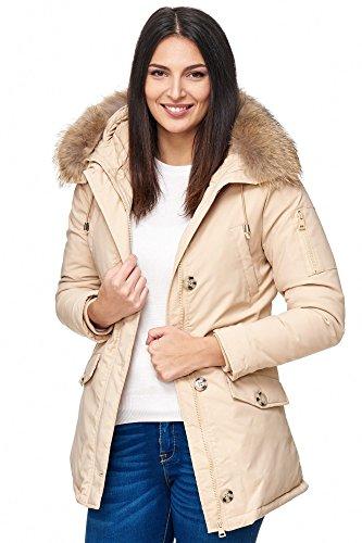 Elara Damen Winterparka | Jacke mit Echt Pelz / Echt Fell Kapuze | Designer Damenjacke | Gefütterte Outdoor Mantel | chunkyrayan, Größe 36, Farbe Beige -