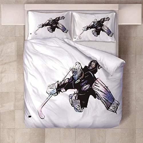 GGKNIT 3D Bettbezug 135x200 cm Eishockey Bettbezug Set 3D Duvet Quilt Und Kissenbezug Einzelbett Bettwäsche Sets für Kinder, Jungen, Mädchen Bettwäsche-Set.