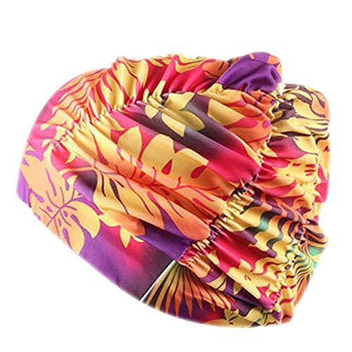 Schwimmhaube Badekappe für charmante Damen Schwimmen Hut Mädchen Lange Haare wasserdichte Badehaube Stretch drapieren Multicolor Blume gedruckt(G,Free)