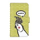 スマ通 iPhone6 iPhone 6 国内生産 カード スマホケース 手帳型 Apple アップル アイフォン シックス 【4-イエロー】 ドット インコ q0001-a0160
