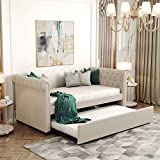 FLIEKS Twin Daybed with Trundle, Upholstered Tufted Sofa Bed Trundle Daybed with Wood Frame (Beige)