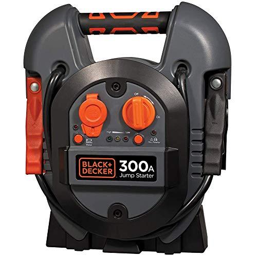 Black+Decker - Cargador de batería Jump Starter 300 A, toma de corriente USB 12V, arrancador de emergencia, batería portátil, potencia máxima con pinzas