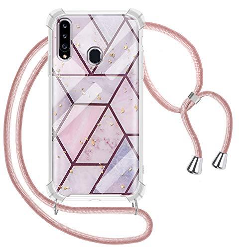 Greneric Handykette Hülle für Samsung Galaxy A20S, Marmor Glitzer Necklace Hülle mit Kordel Transparent Silikon Handyhülle mit Kordel zum Umhängen Schutzhülle mit Band in Roségold