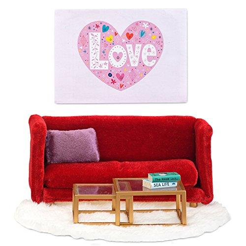 Lundby 60-208100 - Wohnzimmer Puppenhaus - Möbelset 8-teilig - Puppenhauszubehör - Möbel - Sofa - Couch - Sitzgruppe - Zubehör - ab 4 Jahre - 11 cm Puppen - Minipuppen 1:18