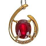 Daesar Collana Oro Giallo 750 18K Rosso Rubino Goccia D'Acqua Ovale Collana Ciondolo Diamante Collana Ciondolo Bambinacollana Ragazza Oro