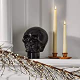 Glass Skull Home Decor - Halloween Decoration, 7 Inch Statue, Opaque Black, Durable Heavy Glass, Realistic Replica Human Skeleton Head - for Gothic Home Decor or Creepy Shelf and Table Display