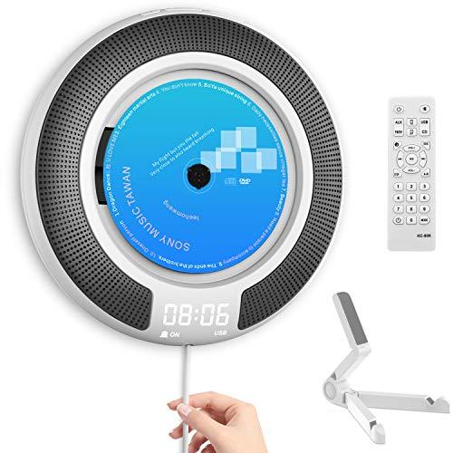 Lettore CD professionale – Bluetooth integrati altoparlanti HiFi e display OLED da scrivania/parete CD Music Player Home Audio Boombox con telecomando radio FM
