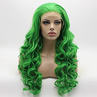 Lushy Fashion Wavy Long Green Half Hand Tied Heat Resistant Heavy Density Synthetic Lace Front Wig