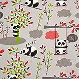 MAGAM-Stoffe Hey Panda grau Baumwollstoff Kinderstoff 100%