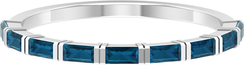 1/2 CT Bar Set London Blue Topaz Half Eternity Band Ring,14K White Gold,London Blue Topaz,Size:US 10.50