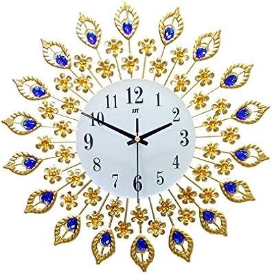 Nazaka | Wall Clocks | 1 Piece Big Wall Clock Luxury Peacock Diamond Metal Crystal Digital