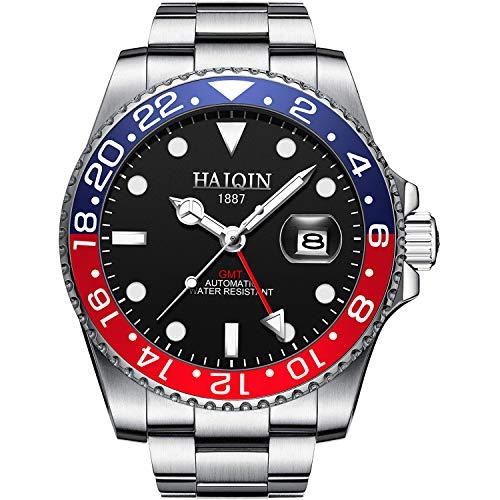 HAIQIN GMT Reloj automático de acero inoxidable de triple fila impermeable negro cara auto cuerda reloj mecánico para hombres