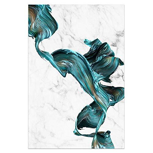 U/N Impresión de Arte Abstracto Cuadro sobre Lienzo para Pared Carteles Verdes y Blancos Modernos decoración del hogar Turquesa decoración de Sala de Estar-7