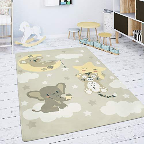 Paco Home Alfombra para Habitación Infantil Juegos Bebé Estrella Nube Luna Beige Blanco, tamaño:150 cm Rund