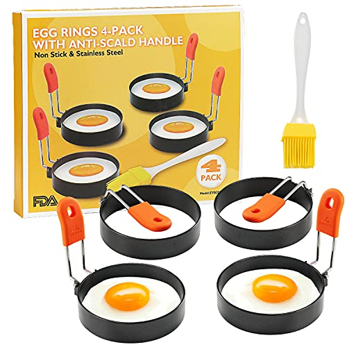 Egg Ring 4 Packs 2.95 Inch Egg Ring with Anti-scald Handle with Oil Brush Nonstick Coating Breakfast Tool for Egg Frying/Shaping