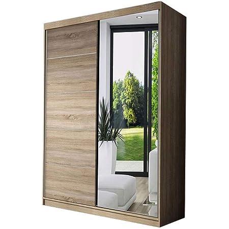 E-MEUBLES Armoire de Chambre avec 2 Portes coulissantes | Penderie (Tringle) avec étagères (LxHxP): 120x200x61 Noah 05 (Sonoma)