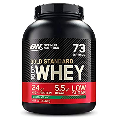 Optimum Nutrition ON Gold Standard Whey Muscle Building and Recovery Protein Powder With Naturally Occurring Glutamine and Amino Acids, Chocolate Mint, 73 Servings, 2.26 kg, Packaging May Vary