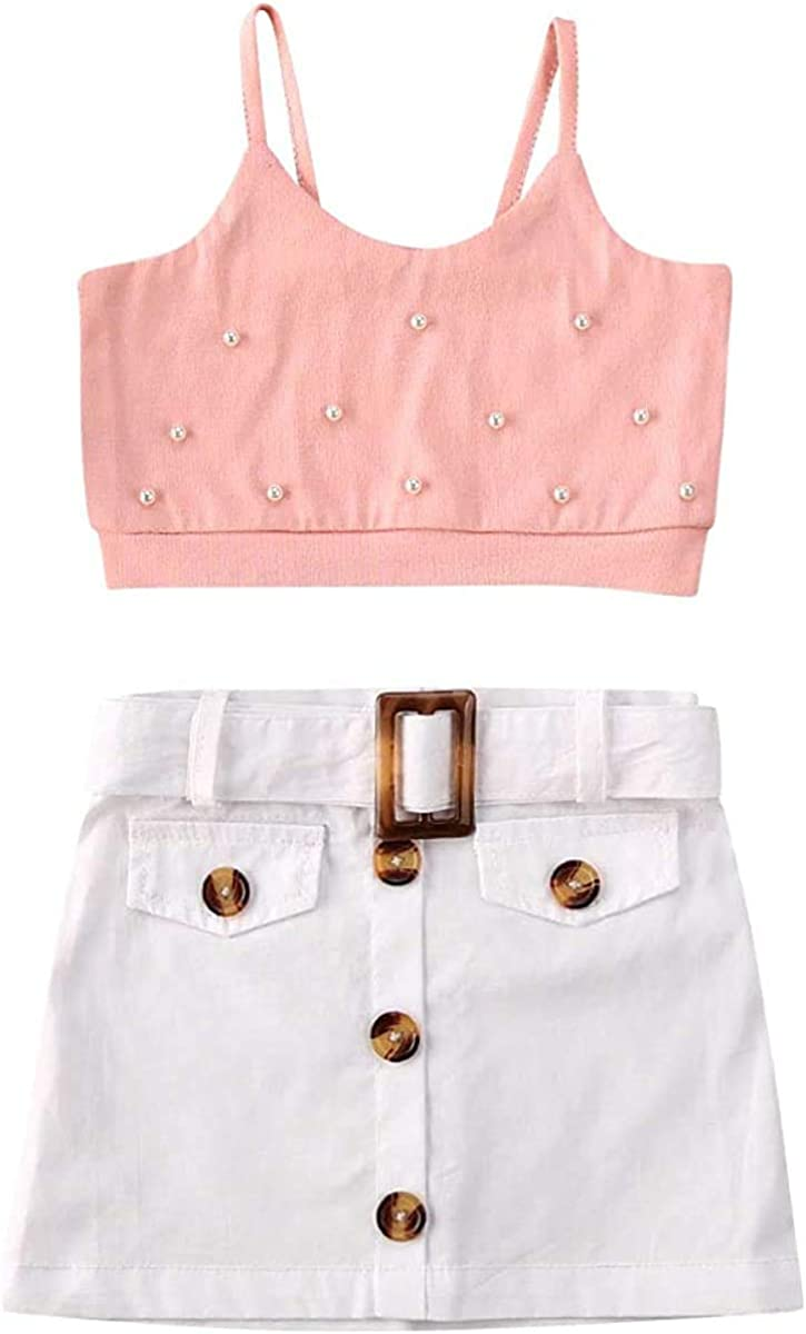 Toddler Baby Girl Skirts Outfits Strap Crop Top + White Button Shorts Skirts Two Piece Summer Clothes Set