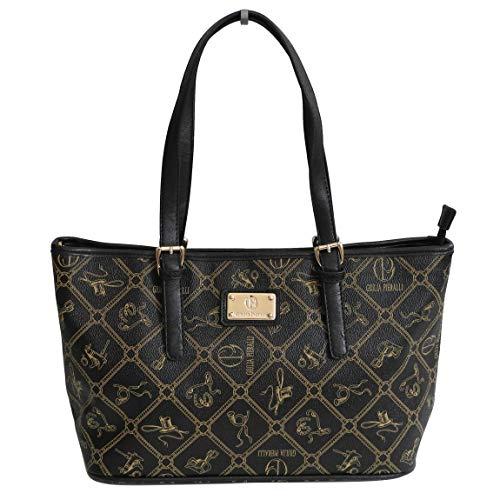 Giulia Pieralli Damen Designer Umhängetasche All-Over Muster Print Glamour Handtasche Schultertasche Henkeltasche (Black) - präsentiert von ZMOKA®