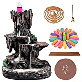 TUOFANG Incense Burner, Incense Holder Backflow Waterfall Mountain Tower Aromatherapy Ornament Housewarming Gifts for Home Office with 150 Backflow Incense Cones, 30 Incense Sticks, 50 Incense Coils