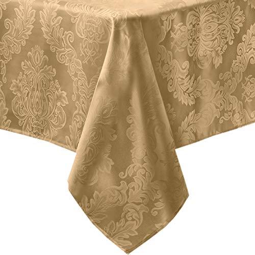 Newbridge Barcelona Luxus Damast Stoff Tischdecke 100% Polyester bügelfrei schmutzabweisend Esszimmer Party Bankett und Urlaub Tischdecke 152,4 x 361 cm länglich/rechteckig, Gold