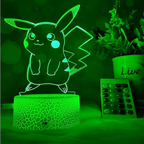 3D Nachtlicht 7 Farbwechsel LED 3D Stereo Pikachu Modell Tischlampe Animation Home Decoration Lampe Kinderschlaflampe