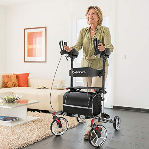 "OasisSpace Walker, Stand-up Rollator Walker with 10"" Metal Front Wheels,Tall Walker Easily Support Up 300 LB"