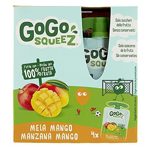 GoGo Squeez - Purea di Frutta, Gusto Mela e Mango, Ingredienti Naturali con Solo Zuccheri della Frutta, Snack Ideale per Bambini - Confezione da 4 Squeez da 90g