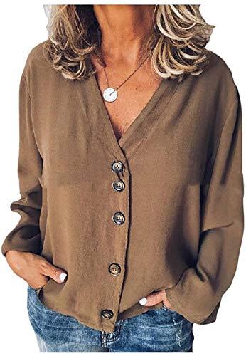 DSKEFE Abrigo de chaqueta de mujer con botones delanteros abiertos de gasa