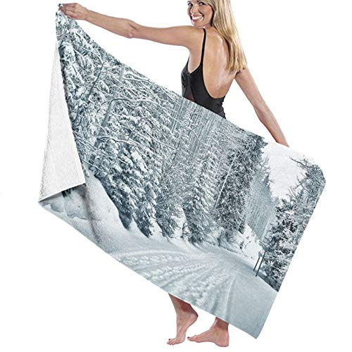 Grande Suave Toalla de Baño Manta,Esquí con Tema Snowy Road Partes frías del Mundo Footprints Colorado Estados Unidos,Hoja de Baño Toalla de Playa por la Familia Viaje Nadando Deportes,52' x 32'