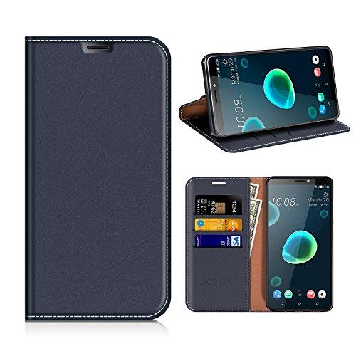 MOBESV HTC Desire 12+ Hülle Leder, HTC Desire 12 Plus Tasche Lederhülle/Wallet Hülle/Ledertasche Handyhülle/Schutzhülle mit Kartenfach für HTC Desire 12+ / 12 Plus - Dunkel Blau