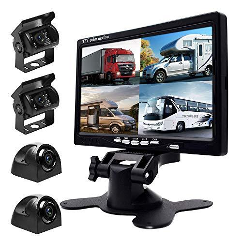 Kabel Rückfahrkamera und Monitor Set - 7 Zoll 4 Kanal Geteilter Bildschirm HD Monitor mit Vier Wasserdichten Nachtsicht Kameras für schwere LKW Busse Wohnmobil Landwirtschaft