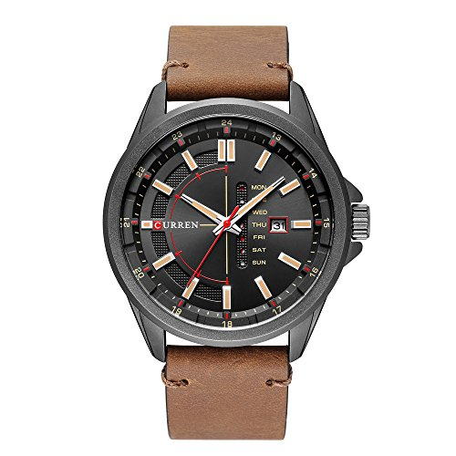 Men Quartz-Analog Watches Military Sport Wristwatch Day Date Waterproof Leather Band The Best Gift for Men (Black & Brown)