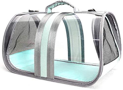 Midiao Pet Carrier Bag, bewegliches transparentes Folding wasserdicht Anti-Skid Box mit verstellbarem Schultergurt for Small Medium Hunde Katzen, Blau, L (Color : Blue, Size : Large)