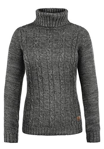 DESIRES Philipa Damen Rollkragenpullover Pullover Zopfstrick Mit Rollkragen Aus 100% Baumwolle, Größe:M, Farbe:Dark Grey (2890)