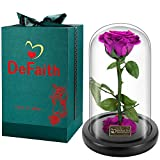 DEFAITH Real Rose 24K Gold Dipped, Forever Gifts for Her Valentines Day Anniversary Wedding and Proposal, Attractive Luster and Natural Shape - Red with K9 Crystal Stand