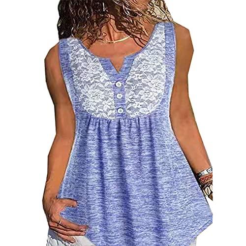 Mujer, Cuello En V, Encaje, BotóN Plisado, Suelto, Sin Mangas, Color SóLido, Jersey, Chaleco, Camiseta
