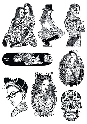 YOUKU Tatuaggio a Braccio Fiore a Pagina Intera Ragazza di Bellezza Gangsta West Coast Trending Notebook Sticker Trolley Case Sticker