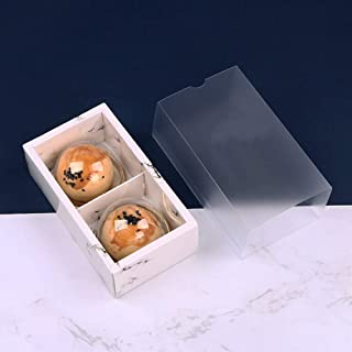 "BBC INS Marble Cake Box With Clear Lid, Gift Packaging Boxes For Moon Cake/Cookie/Candy/Soap, 6.3(Lx3.5(W) x2(H)"", 10 Sets..."