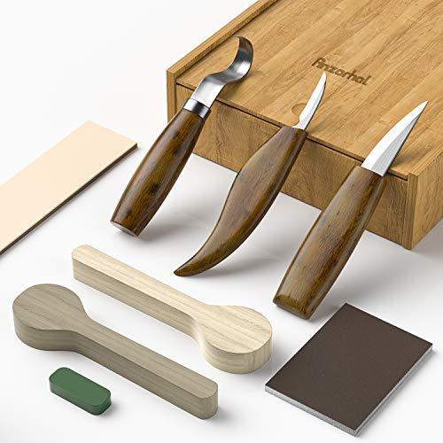 Anzorhal Holzschnitzerei Meißel Schnitzwerkzeug-Satz Holzbearbeitunghilfsmittel - Holzschnitzwerkzeug, Schnitzwerkzeug für die Holzbearbeitung, Projekte, Drehmaschinen, Schnitzen (11 Stk) (Holzlade)
