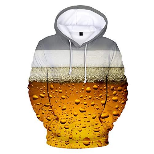 Zylione Hoodies Sweatershirt Tops für Herren Männer Bier Festival 3D Druck Langarm Rundhalsausschnitt 2019 Oktoberfest-Thema 3D Druck Langarm Kapuzenpullover Hoodie Pullover M-40XL